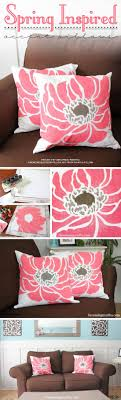 Cutting Edge Stencils shares DIY spring inspired painted pillow using the  Anemone Blossom stencil from Paint