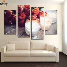 modern flower candle painting 4 piece large canvas print wall art modular picture sitting room kitchen on large 4 piece wall art with modern flower candle painting 4 piece large canvas print wall art