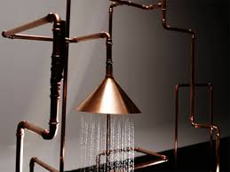 copper bathroom fixtures. Copper Shower Installation By Front Bathroom Fixtures