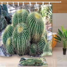 desert plants decor succulent cactus waterproof polyester fabric shower curtain set with non slip floor