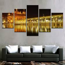Moderne Interieur 5 Panel Mooie India Landschappen Ingelijst Canvas