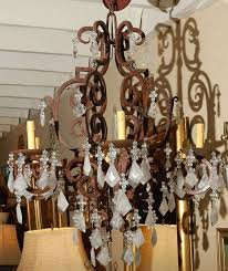 1980s wrought iron six light chandelier cover with brazilian rock crystal