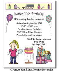 Personal Invitations Birthday Make Up Theme Personalized Party Invitations By The Personal Note