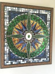 stained glass nautical stained glass window panels compass rose mosaic wall hanging panel image 0