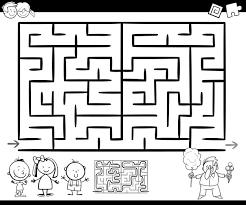 Doolhof Of Labyrint Spel Kleurplaat Vector Premium Download