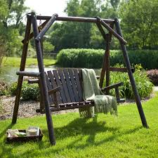 Coral Coast Rustic Torched Log Curved Back Porch Swing and A-Frame Set |  Hayneedle