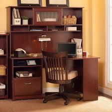 bush furniture cabot corner desk with hutch harvest cherry hayneedle