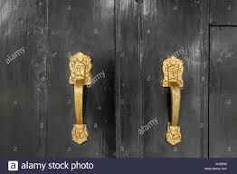 gold colored handle on black doors
