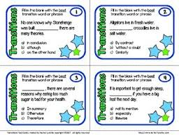 Transitions Task Cards Transition Words And Phrases Sentence Cards