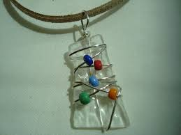 wire wrapped recycled glass pendant. Wire Wrapped Recycled Glass Necklace Handmade Eco Friendly Jewelry Pendant Colorful Beaded Gift Idea Under 15