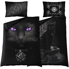 spiral gothic black cat single duvet cover set with uk and eu pillowcases