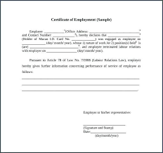 Work Certificate Sample And Experience Letter Employment