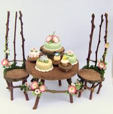 furniture fairy. floral fairy furniture with cakes o