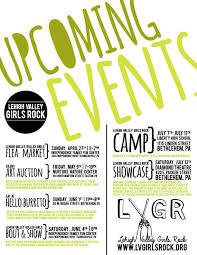 Upcoming Events Flyer Lehigh Valley Girls Rock Upcoming Events Flyer Event