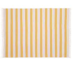 kilner stripe recycled yarn indoor outdoor rug yellow