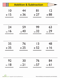Double-Digit Addition and Subtraction | Worksheet | Education.comFirst Grade Addition Subtraction Worksheets: Double-Digit Addition and Subtraction