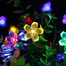 luckled flower outdoor solar string lights 21ft 50