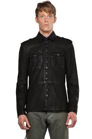 image 1 of john varvatos modern military on front leather shirt jacket in black