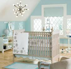 grey and aqua baby bedding sets with cute chandeliers lighting for
