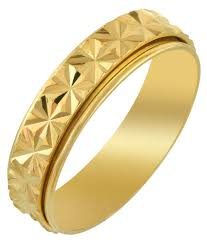 Challa Design Ring Memoir Gold Plated Nick Work Shiny Finger Band Challa