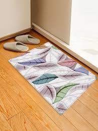 leaf figure printed decorative area rug multicolor w20 x l31 5 inch