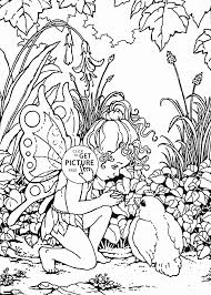 Little Fairy And Bird Coloring Page