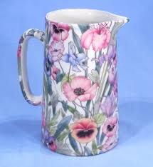 Decorative Jugs And Vases English China Pansies And Poppies Milk Jug Flower Vase Sold