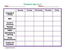 Weekly Lesson Plan Templates Printable Lesson Plan Template For Preschool Vastuuonminun A Day At
