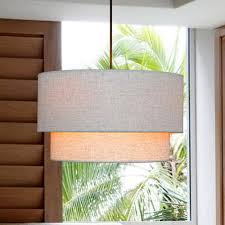 image of round or rectangular drum shade chandelier