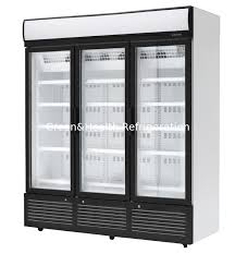 china 3 doors stainless steel glass door beverage cooler large storage facilities supplier