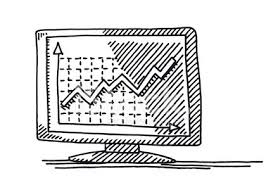 Monitor Line Chart Success Drawing Clipart Image