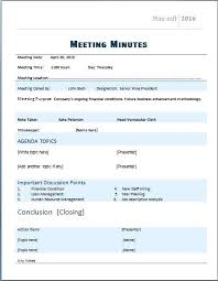 Minutes Sample Format Meeting Minutes Template