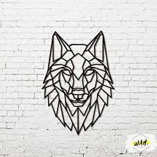 wolf geometric wolf metal wall art wall