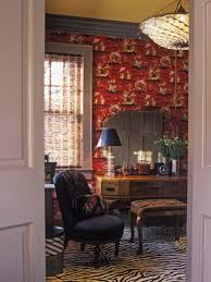 small dressing room with bold patterns