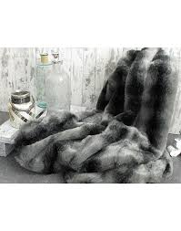 Dark Grey Faux Fur Throw Blanket
