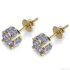 Mens Designer Earrings 2019 Designer Earrings Luxury Jewelry Fashion Women Mens Earrings Hip Hop Diamond Stud Earings Iced Out Bling Cz Rock Punk Round Wedding Gift From