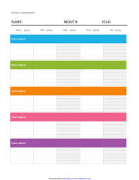 weekly assignment template weekly schedule template free templates in doc ppt pdf xls