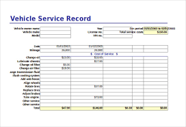 Vehicle Service Sheet Template Planner Template Free