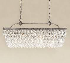new in box pottery barn 899 clarissa crystal drop 30 rectangular chandelier