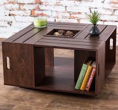 Rolling Rectangle Wood Crate Coffee Table Wood Crate Coffee Tables
