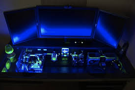Glowing Floating Computer Desk with Custom PC beneath the Glass Top