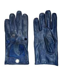 more views leather gloves midnight blue