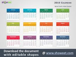 Ppt Calendar 2015 Colorful Calendar 2015 For Powerpoint