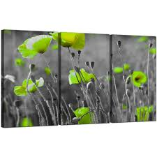 >green poppy canvas wall art 3 part for your living room display gallery item 5 set of 3 floral canvas wall art lime green poppies 3138 display gallery item 6