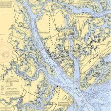 South Carolina Beaufort Broad River Nautical Chart Decor