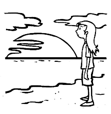 Small Picture A Young Teenage Girl Waiting for Sunset on the Beach Coloring Page