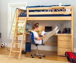 knockout high loft bed with desk and 1 drawer in natural by maxtrix 560