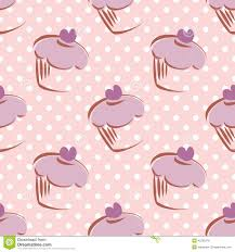 cute animated cupcakes wallpaper. Exellent Animated Tile Vector Pattern With Cupcake And Polka Dots Ba And Cute Animated Cupcakes Wallpaper M