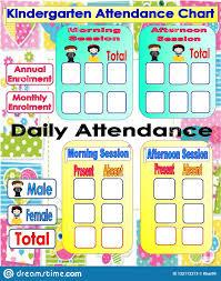 Attendance Chart Kindergarten Attendance Chart Stock Illustration