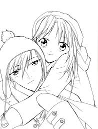 For kids & adults you can print cute or color online. Cute Romantic Anime Couples Coloring Pages